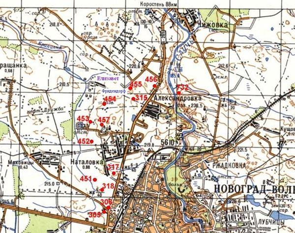 Расположение ДОТов на описываемом участке Новоград-Волынского укрепрайона